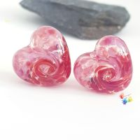 Pink n Red 50/50 Twist Heart Lampwork Bead Pair