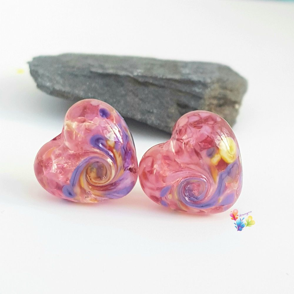 Tropical Shake 50/50 Twist Heart Lampwork Bead Pair