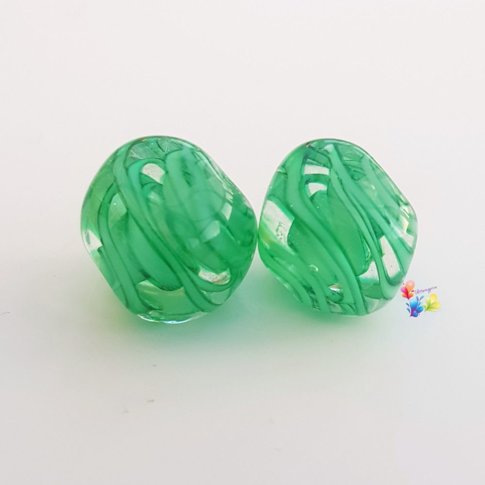 St Patricks's Ribbons Lampwork Nugget Pair