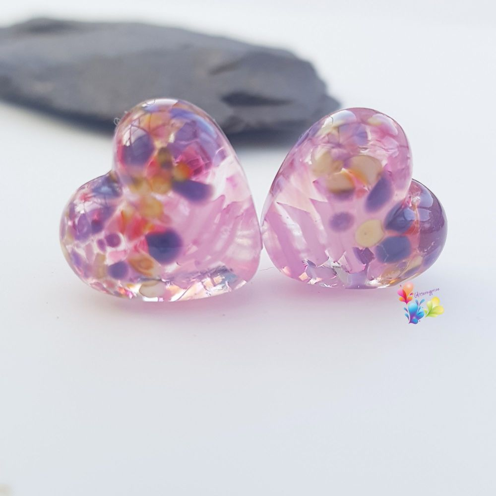 Pink Ribbon Tropical  Heart Lampwork Bead Pair