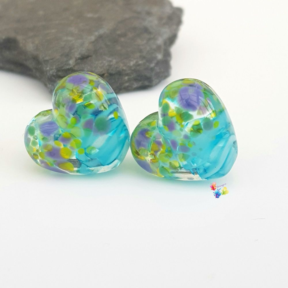 Blue Ribbon Crocus Heart Lampwork Bead Pair