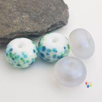 Blue n Grey Duo Pairs Set Lampwork Beads