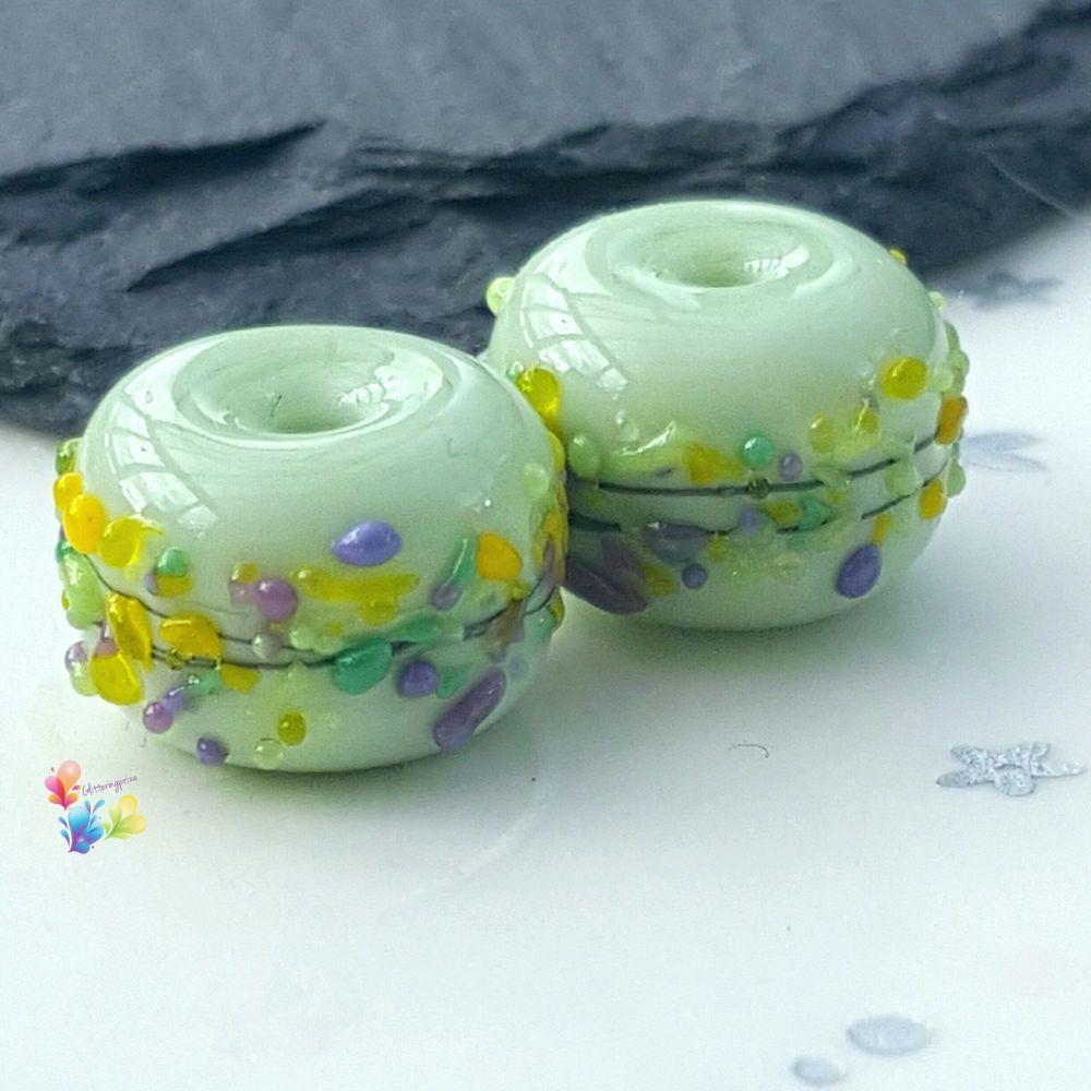 Springtime Mint Crocus Lampwork Bead Pair