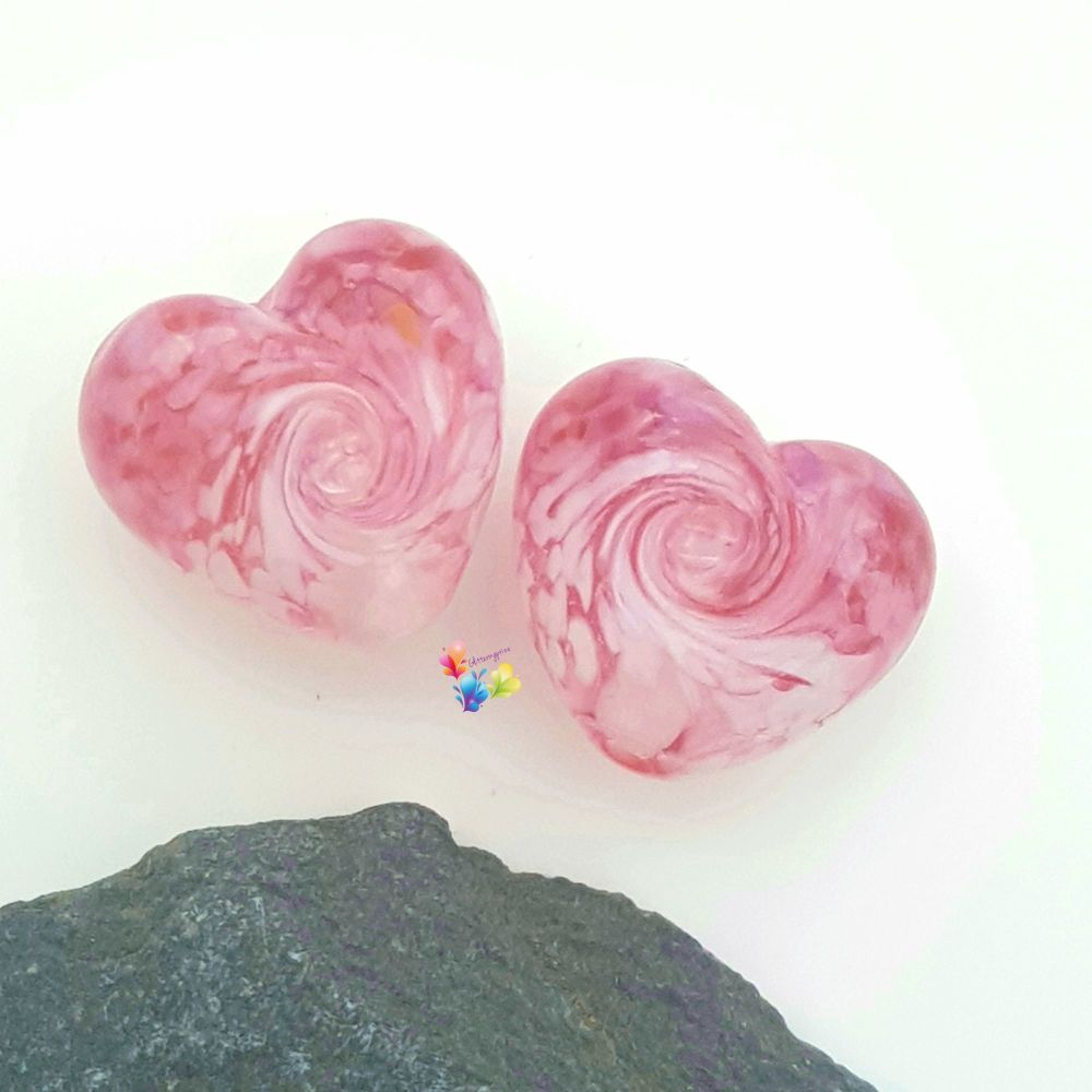 Coconut Ice Twist Heart Lampwork Bead Pair