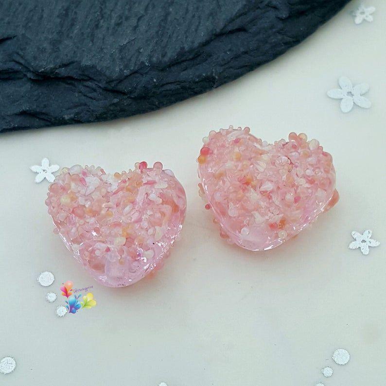 Rose Confetti Blossom Love Heart Lampwork Bead Pair