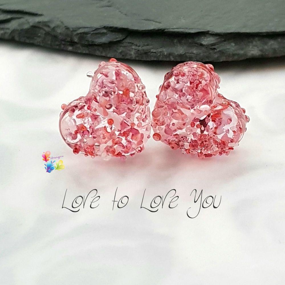 Love To Love Heart Lampwork Bead Pair