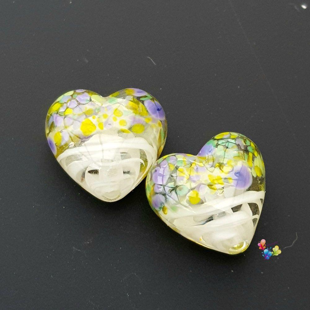 White Ribbon Crocus Heart Lampwork Bead Pair