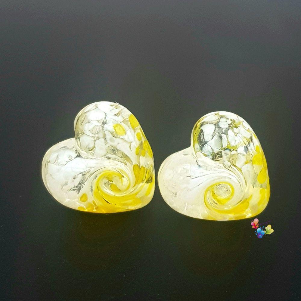 Yellow & White Twist Heart Lampwork Bead Pair