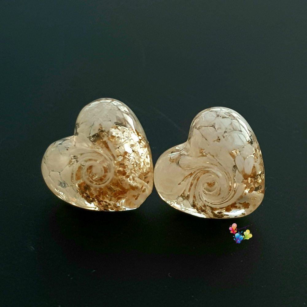 Gold & White Lace  Heart Lampwork Bead Pair