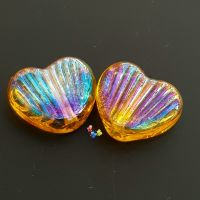 Rainbow Gold Metallic Fin Heart Bead Pair