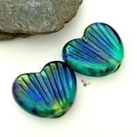Light Blue Metallic Fin Heart Bead Pair