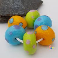 Bold Polkas Lampwork Beads