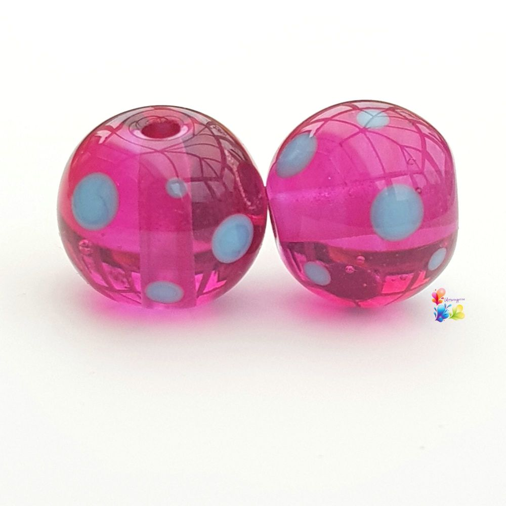 Hot Pink n Blue Polka Round Lampwork Bead Pair