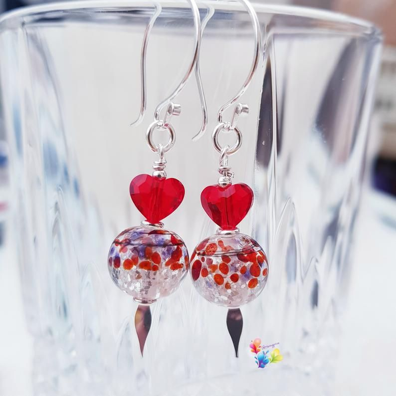 Red Queen Of Hearts Earrings Sterling Silver