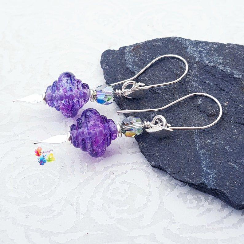 Boo Purple Spinner Earrings Sterling Silver
