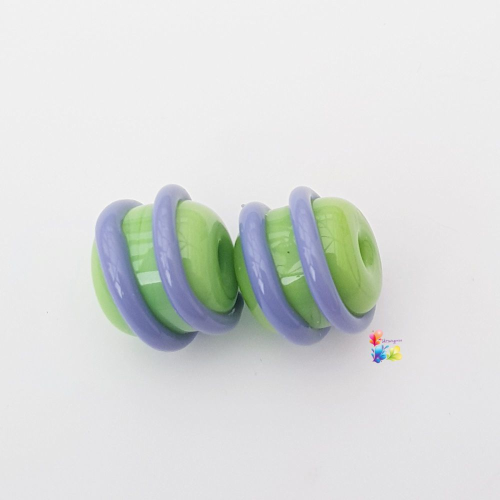 Green & Purple Spiral Lampwork Bead Pair