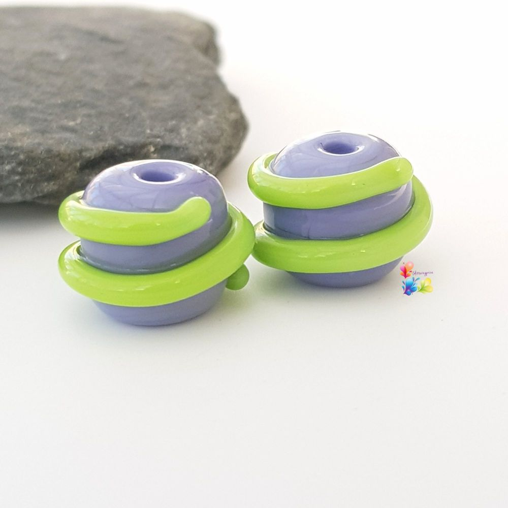 Purple & Green Spiral Lampwork Bead Pair