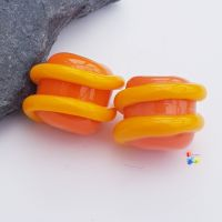 Orange & Yellow Spiral Lampwork Bead Pair