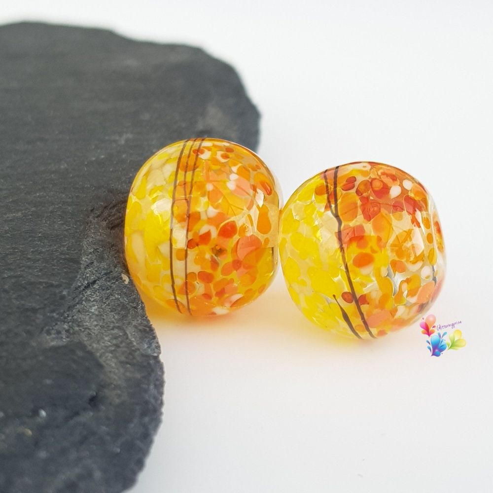 St Clements  Boho 50/50 Round Lampwork Bead Pair