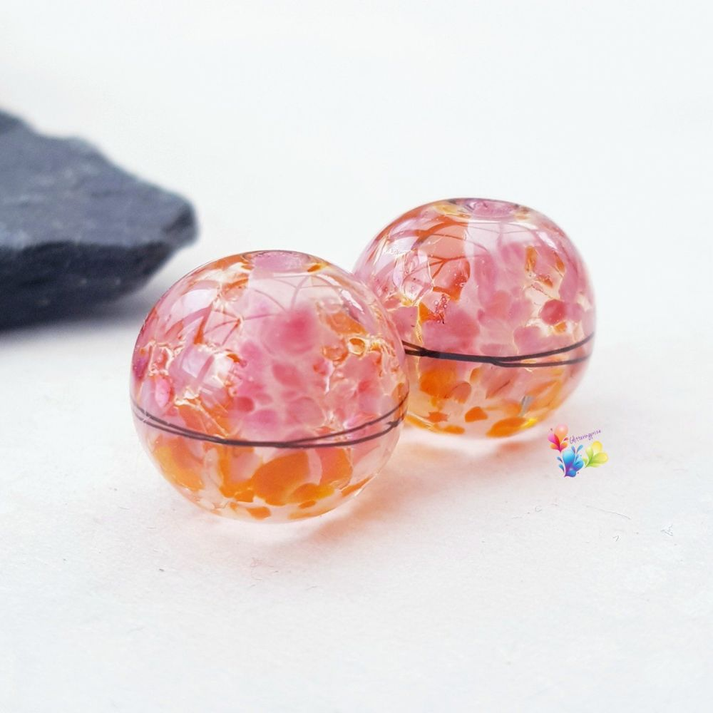 Fruit Salad  Boho 50/50 Round Lampwork Bead Pair