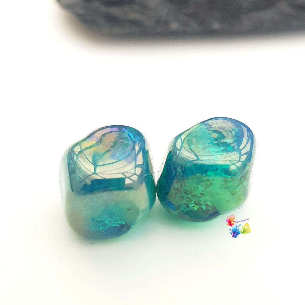 Mermaid Glitter Nuggets Lampwork Bead Pair