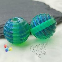 Mermaid Roll Lampwork Bead Pair
