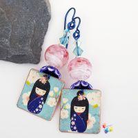 Navy Geisha Girl Niobium Earrings (Hypo-Allergenic)