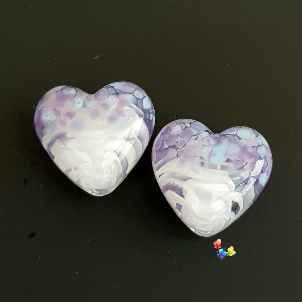 White Ribbon Bluebell  Heart Lampwork Beads