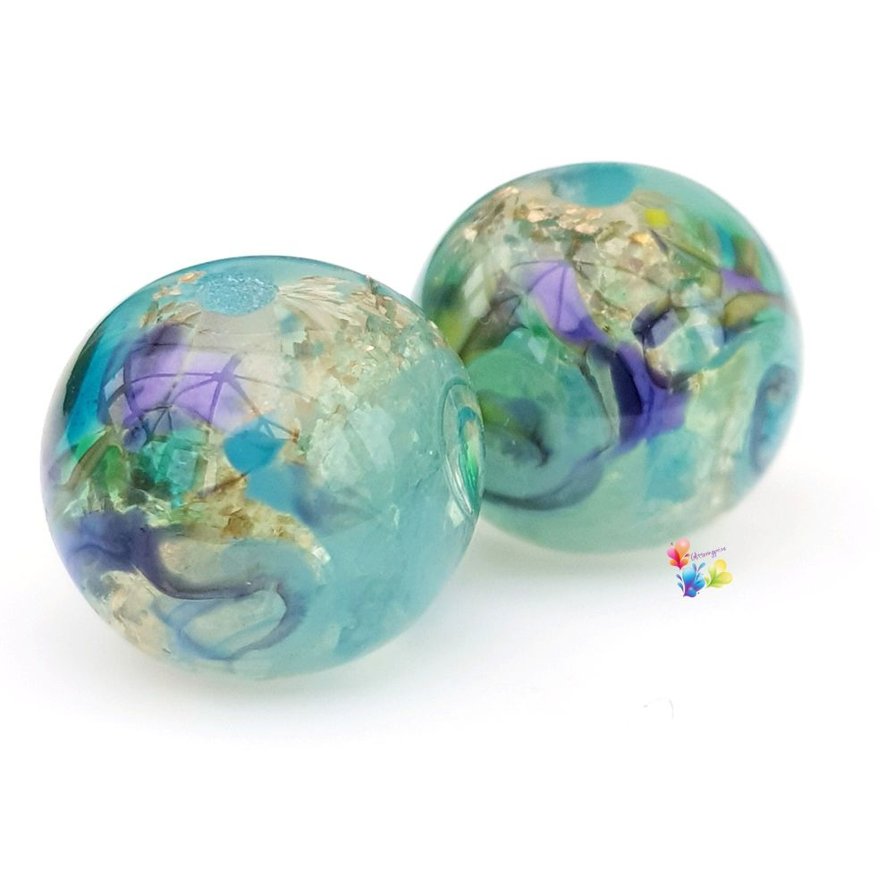 Water Nymph Patchwork Round Lampwork Bead Pair