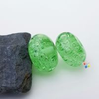 Green Bubbles Lampwork Bead Pair