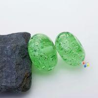 Green Bubbles Lampwork Bead Pair