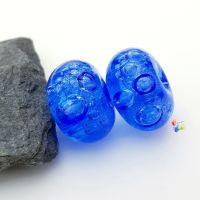 Dark Blue Bubbles Lampwork Bead Pair