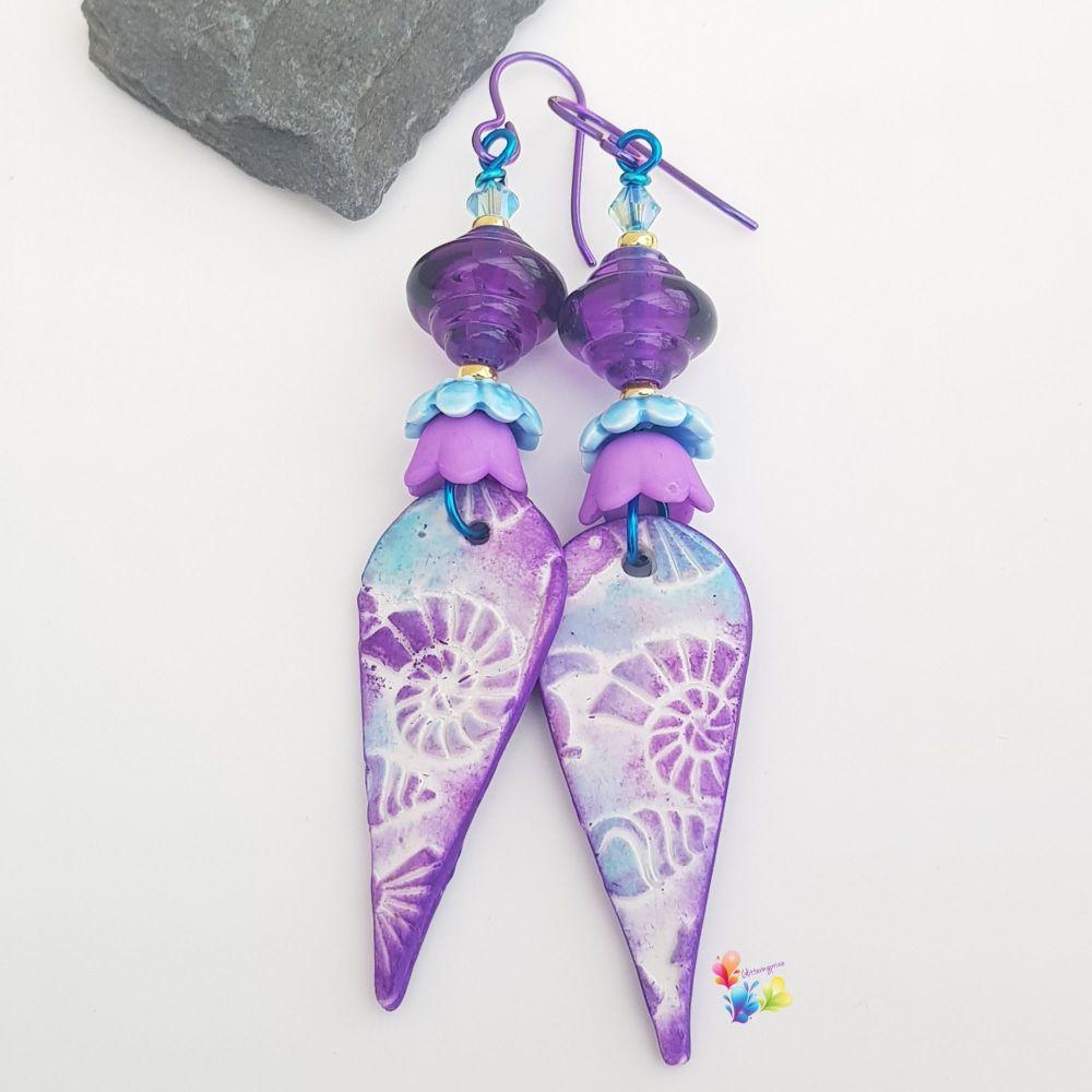 Purple Seashell Niobium Earrings (Hypo-Allergenic)