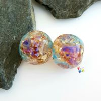 Tropical Blue Golden Patchwork Round Lampwork Bead Pair