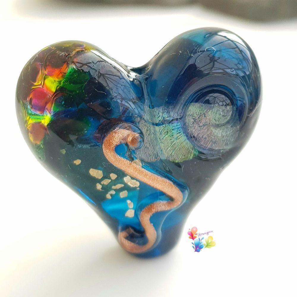Leaky Pen Dichroic Focal Lampwork Heart