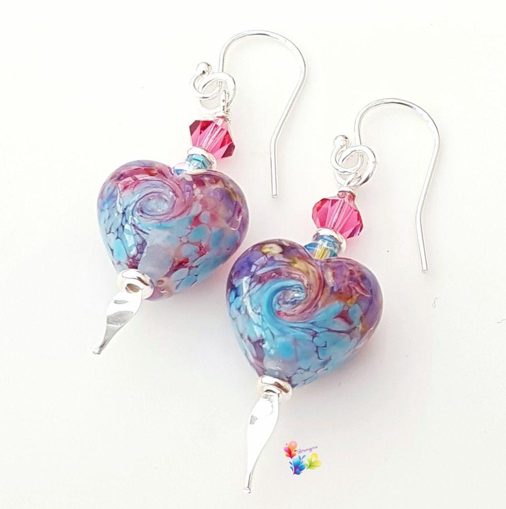 Fantasy Blue Heart Earrings Sterling Silver