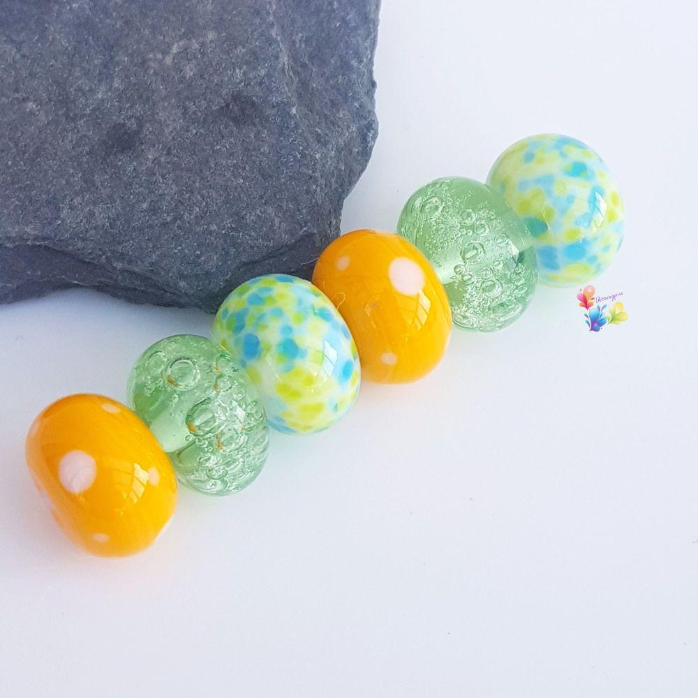 Springtime Fun Trio of Pairs Lampwork Beads