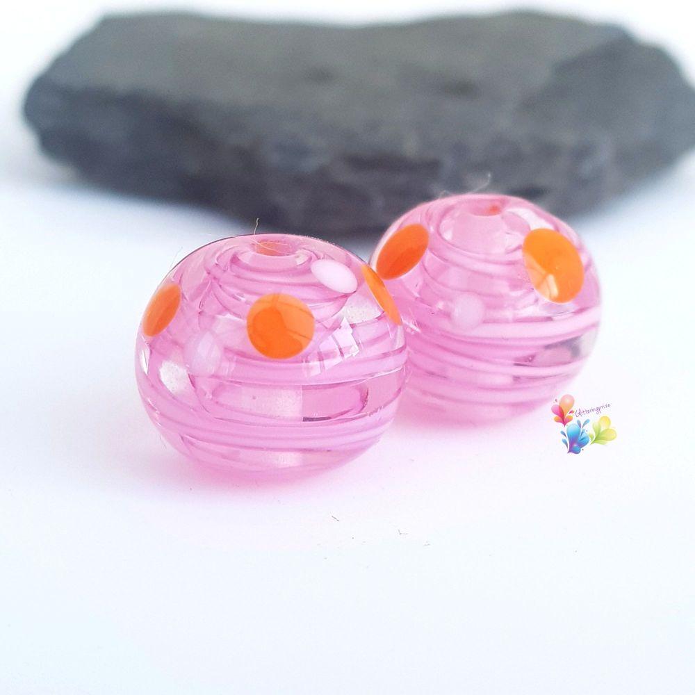 Mini Pink Ribbon with Orange  & White Spots Round  Glass Lampwork Beads
