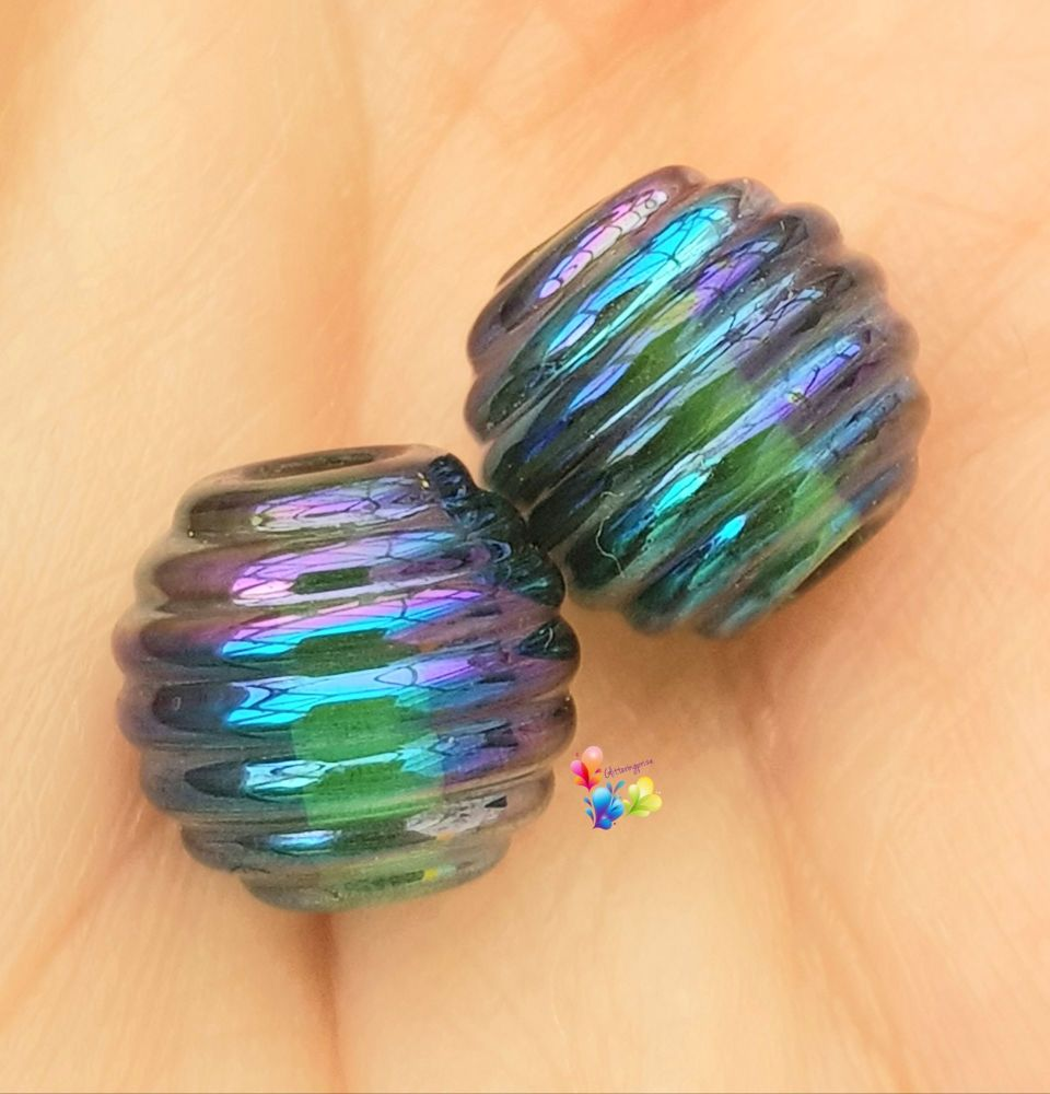 Light Blue Metallic Rib Lampwork Bead Pair