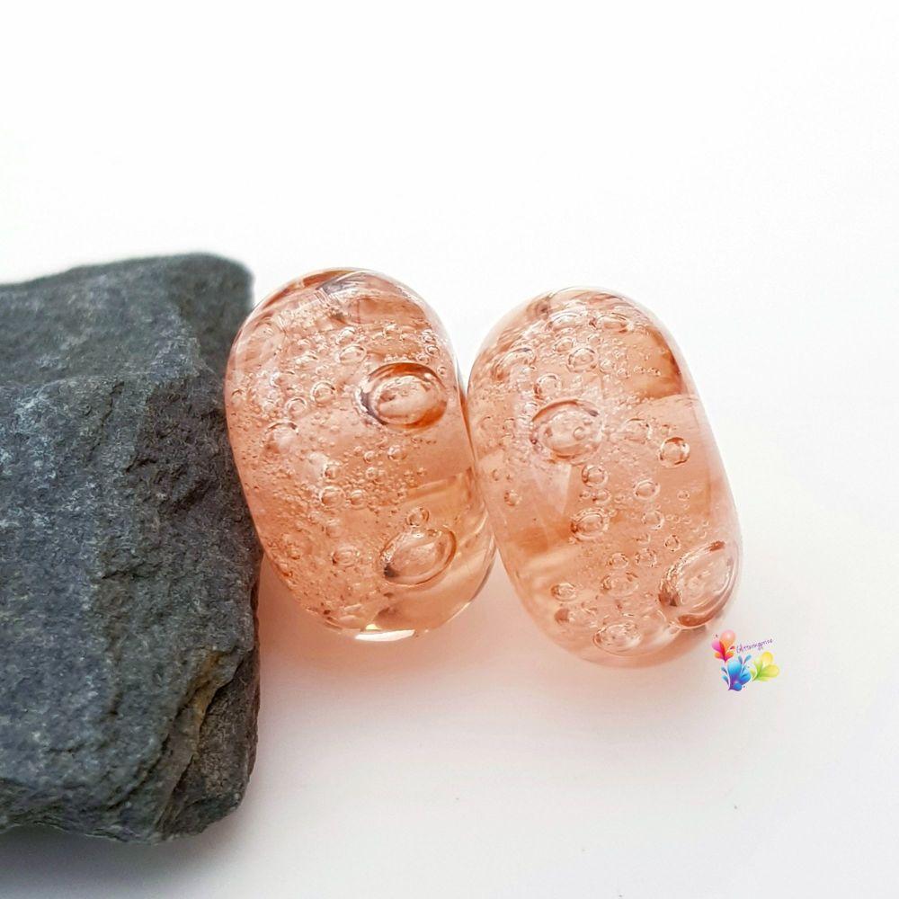 Soft Orange Bubbles Lampwork Bead Pair