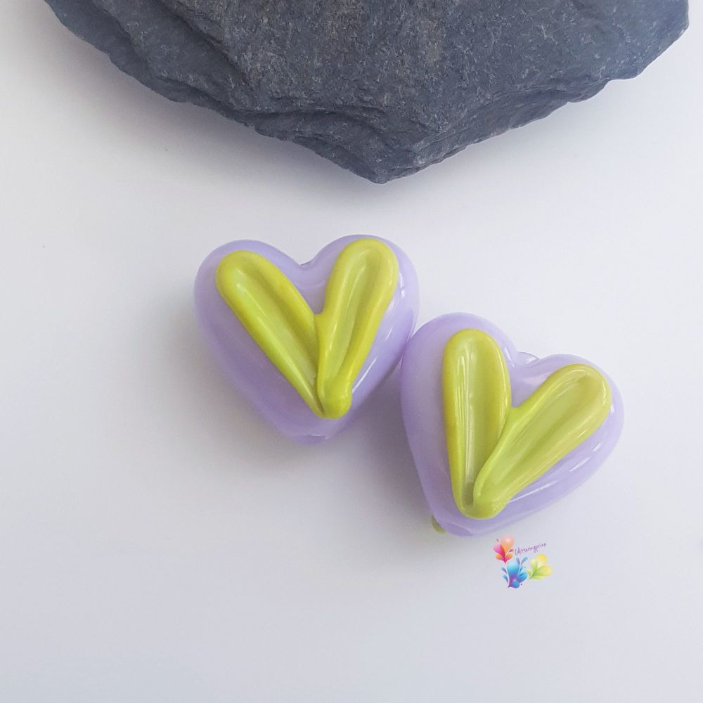 Purple & Lime Heart Glass Lampwork Beads