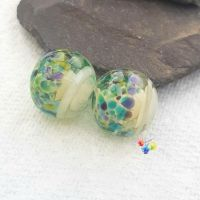 Water Nymph Cream Ribbon Glass Lampwork Beads