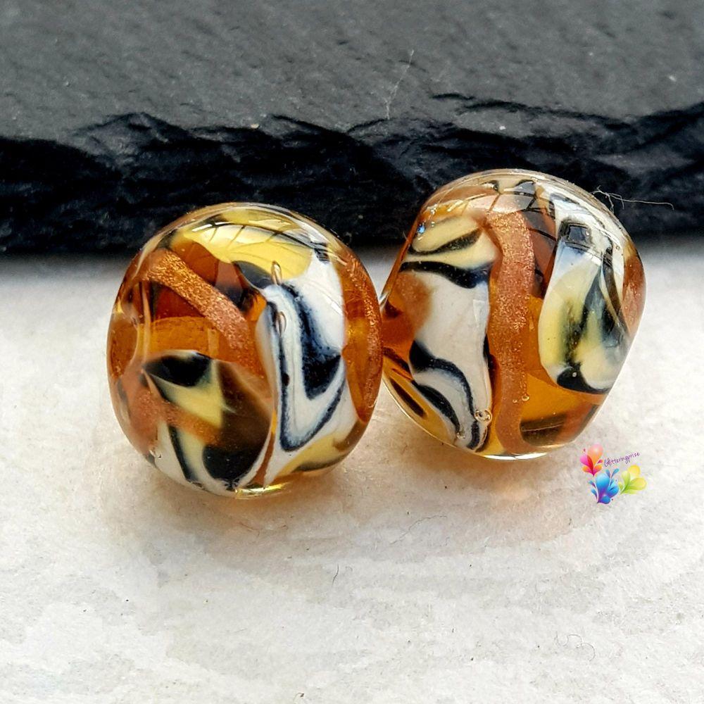 Posh Tiger Round Glass Lampwork Bead Pair