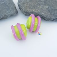 Lime Green & Hot Pink Spiral Lampwork Bead Pair