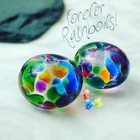 Forever Rainbows Medium Lampwork Bead Pair