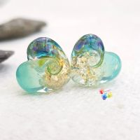 Ice Mint Nymph Patchwork Glass Heart Pair