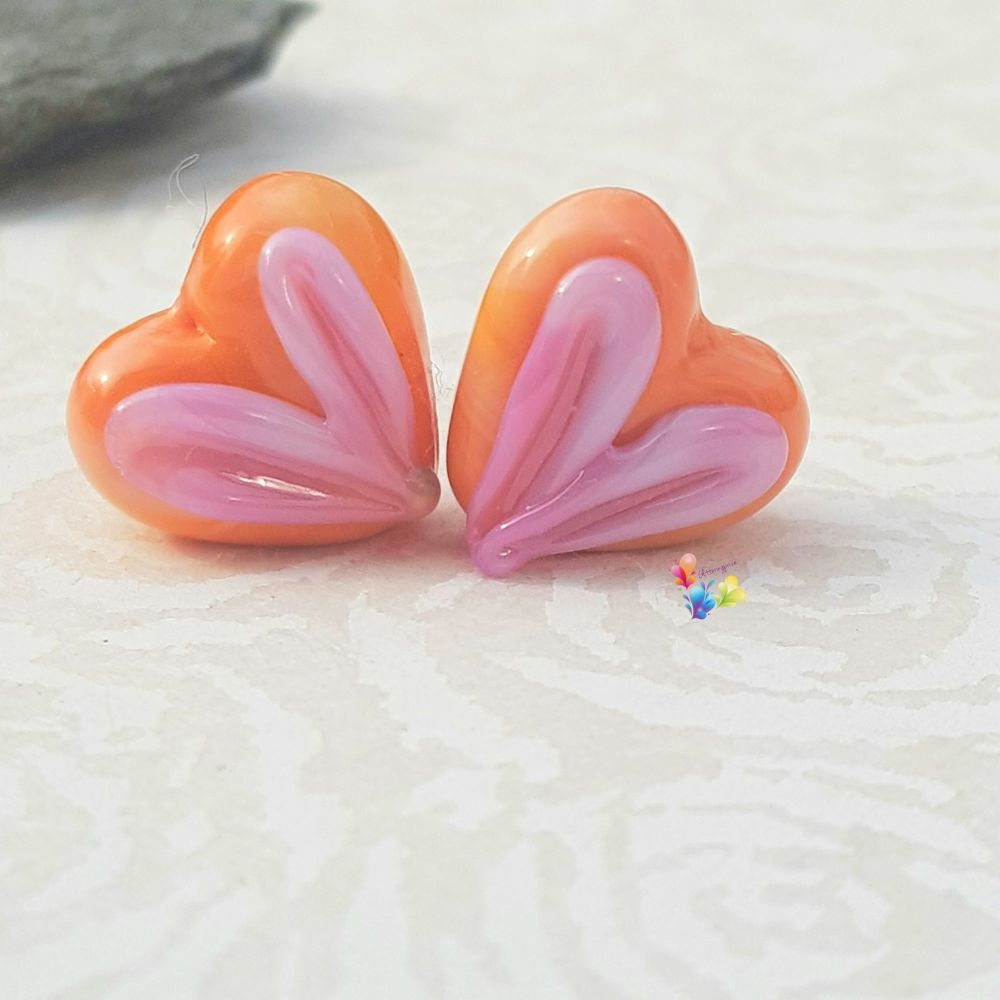 Coral & Hot Pink Heart Glass Lampwork Beads