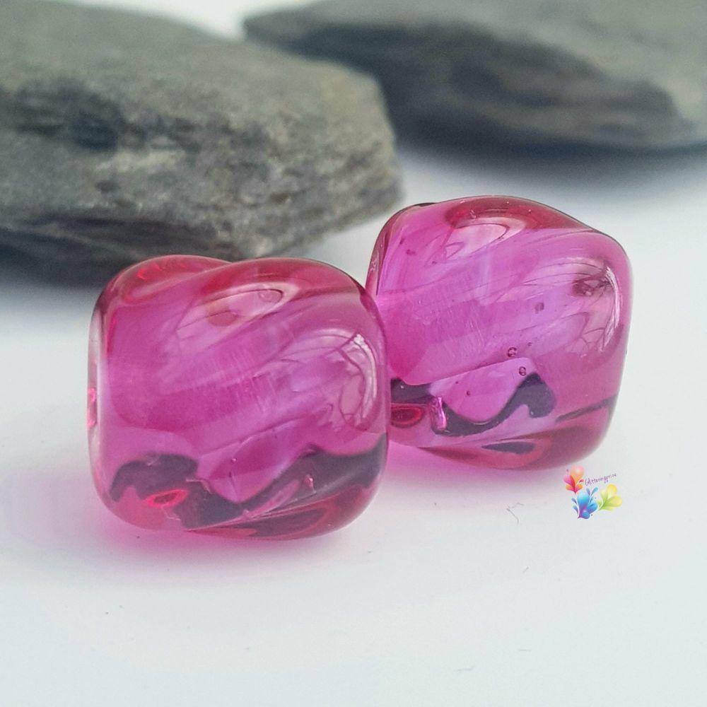 Hot Pink Lavender Twist Lampwork Bead Pair