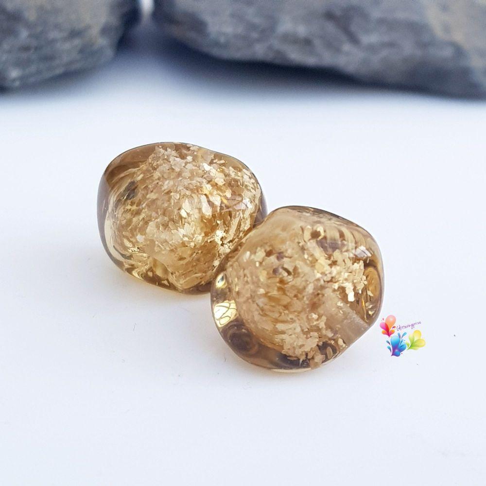 Golden Brown Nugget Lampwork Bead Pair