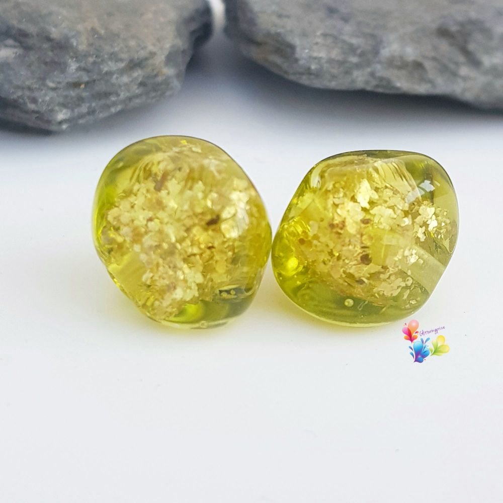 Golden Kelp Glitter Nugget Lampwork Bead Pair